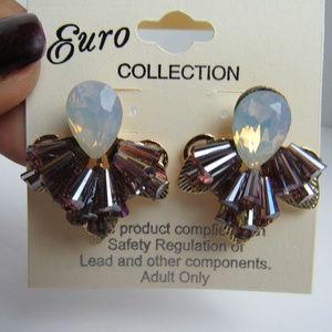 NWT Studded Rhinestone Earrings Purple/White